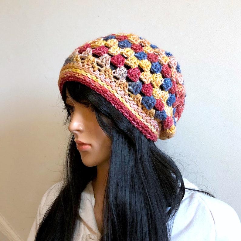 a76666d384e Retro Nouveau Granny Square Beanie Slouchy Hat