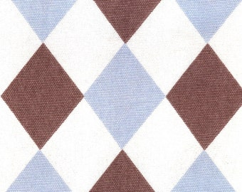 Jester - Lt blue and cocoa harlequin fabric
