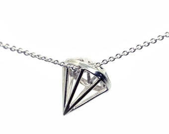 Sterling Silver Diamond Shaped Pendant Necklace