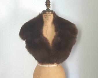Large Fox Fur Collar / dark brown