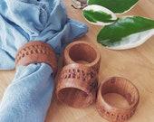 4 Boho Wood vintage 1970s NAPKIN RINGS hand carved napkin holders free shipping