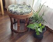 Circular Bamboo Rattan Ottoman Stool w cushion - Peacock Wicker table piece Modern boho 1970s - Free Shipping