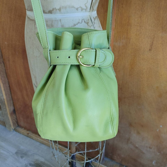Coach Bucket Bag / Green Leather Purse / 9973