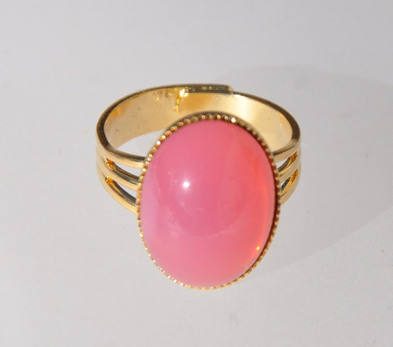 16mm Gold Plated over Brass Prong Setting. 2 Oval Pink Opal Crystal Glass Pendant O0160181
