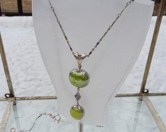 Double apple green celtic drop necklace