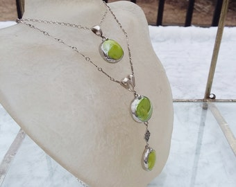 Layered green drop glass drop necklaces