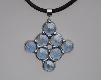 Translucent Blue Glass Celtic Star Cluster Pendant on Leather