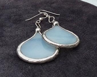 milk white glass petal earrings