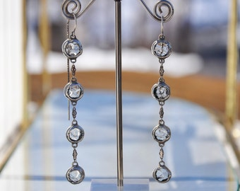Elegant glass rain drop thread earrings