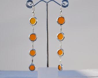 Orange glass rain drop thread earrings