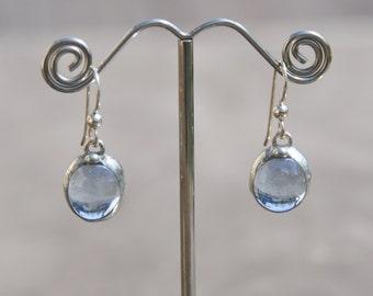 Light blue glass drop earrings