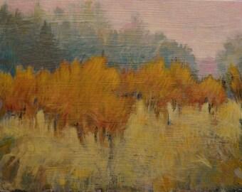 "October Orchard - Original Acrylic Oil Encaustic Landscape Painting - 18""x 14"""
