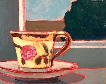 "Sky Watching with Tea - Original Acrylic Oil Encaustic Still Life Painting - 8""x 8"""