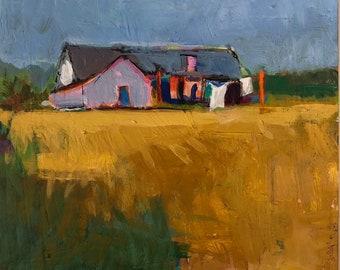 """Ana's Place - Original Acrylic Oil Encaustic Landscape Painting 8""""x8"""""""