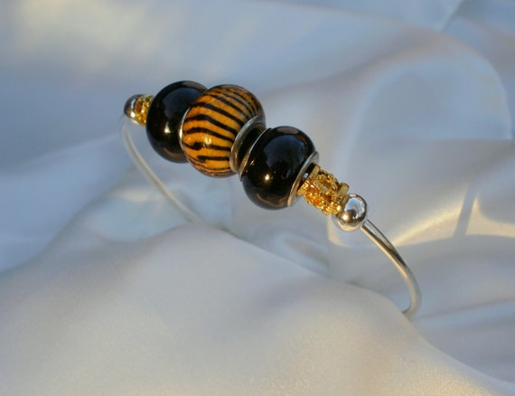 Black and Gold Tiger Bead Bracelet Cuff, contemporary design