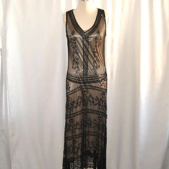 Vintage 80s 90s Stenay Beaded Silk Gown Size Large