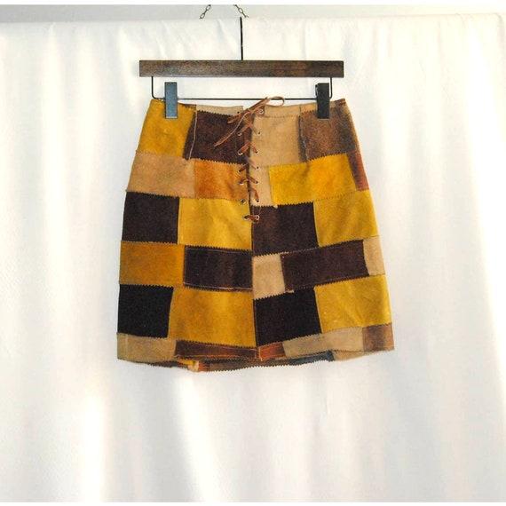 Vintage Suede Patchwork Skirt