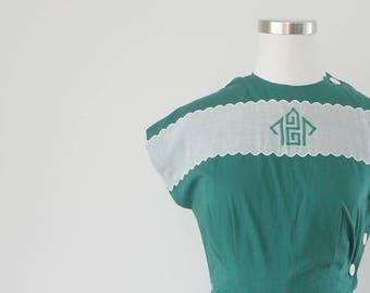 1940s Cotton Green Side Button Dress