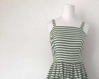 1950s Green and White Cotton Striped Sundress