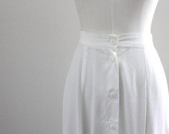 1990s Rayon White Midi Skirt