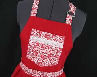 Bib Apron in cheerful red and white Love to Cook