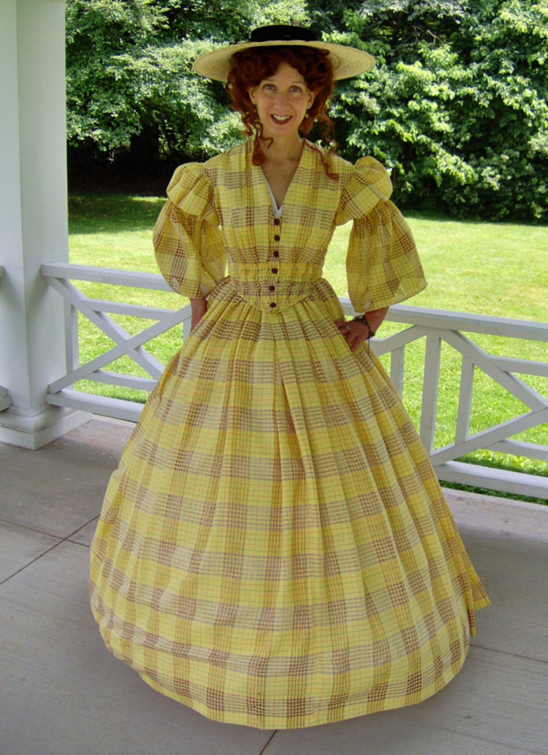 c40afd556090b FOR ORDERS ONLY Custom Made 1800s Victorian Dress 1850s 1860s Civil War  Summer Day Gown - Picnic Tea Reenactor Costume Theater Bodice Skirt