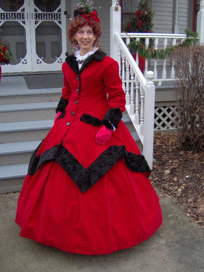 dc4f7da4ba00f FOR ORDERS ONLY - Custom Made - 1800s Victorian Dress 1860s Civil War  Traveling Gown - Over Coat Winter Skirt Jacket Dickens Caroling Suit