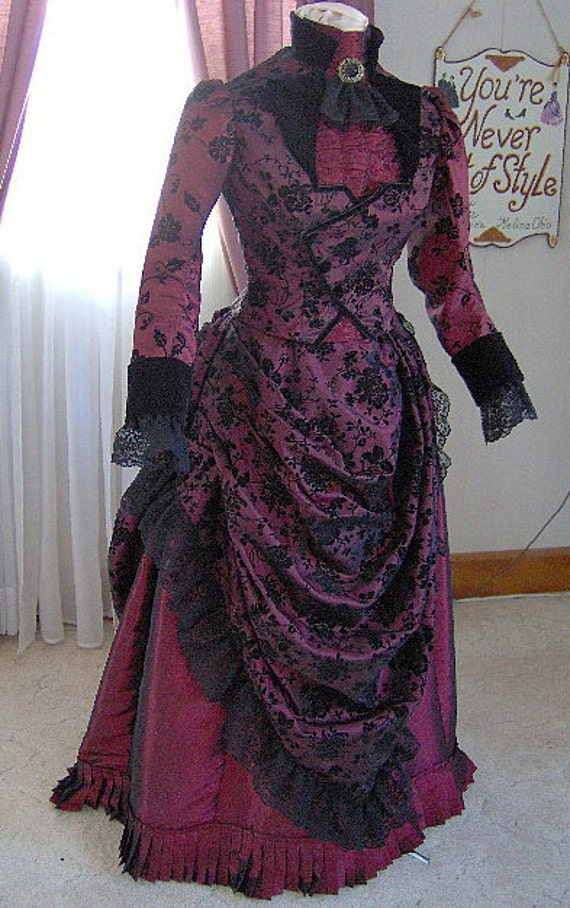 for orders only 1800s victorian dress 1887 bustle gown