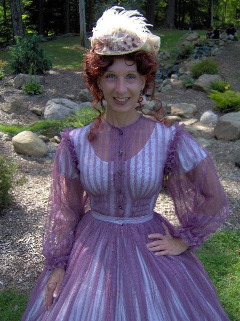 FOR ORDERS ONLY - 1800s Victorian Dress - 1860s , Civil War Dress - Sheer Summer Day Gown - Skirt Bodice Reenactor Costume Picnic Tea Dress