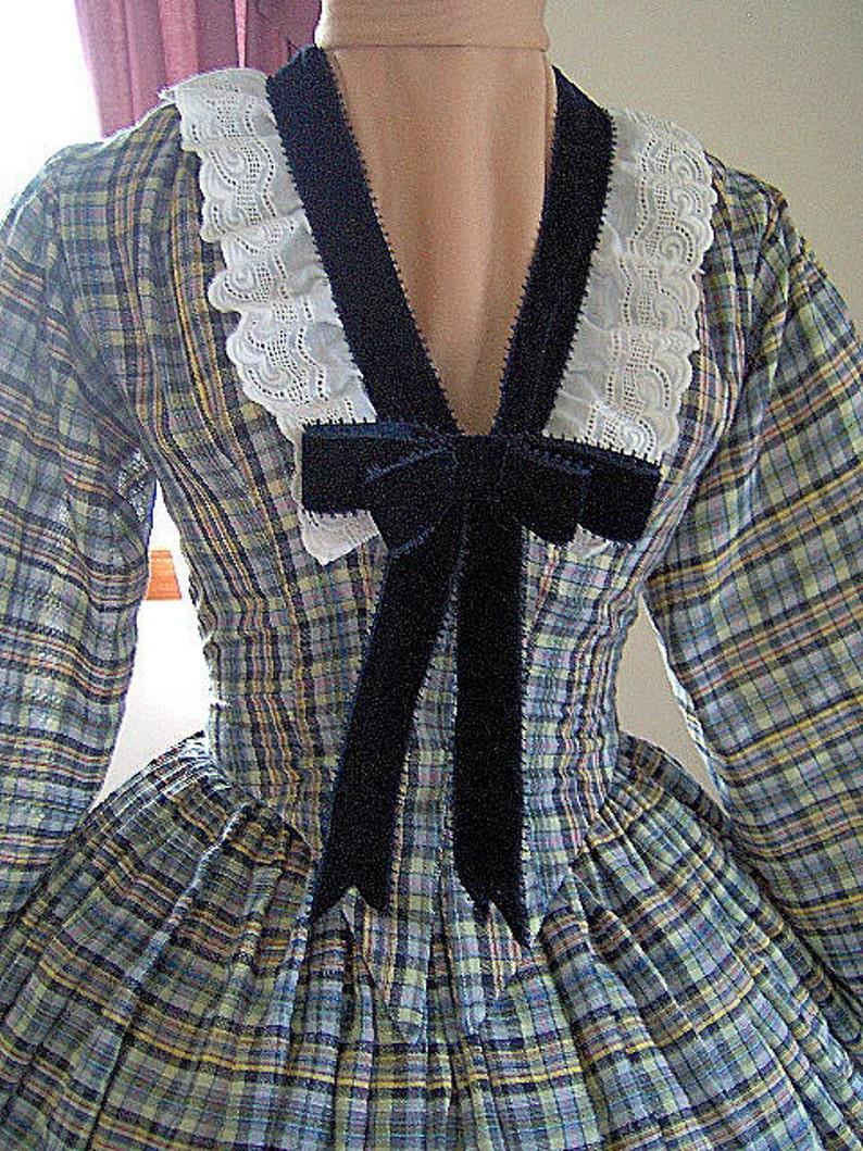 FOR ORDERS ONLY - Custom Made - 1800s Victorian Dress - Civil War Dress -  1860s Summer Dress Gown - Tea Dress Picnic Dress - Theater