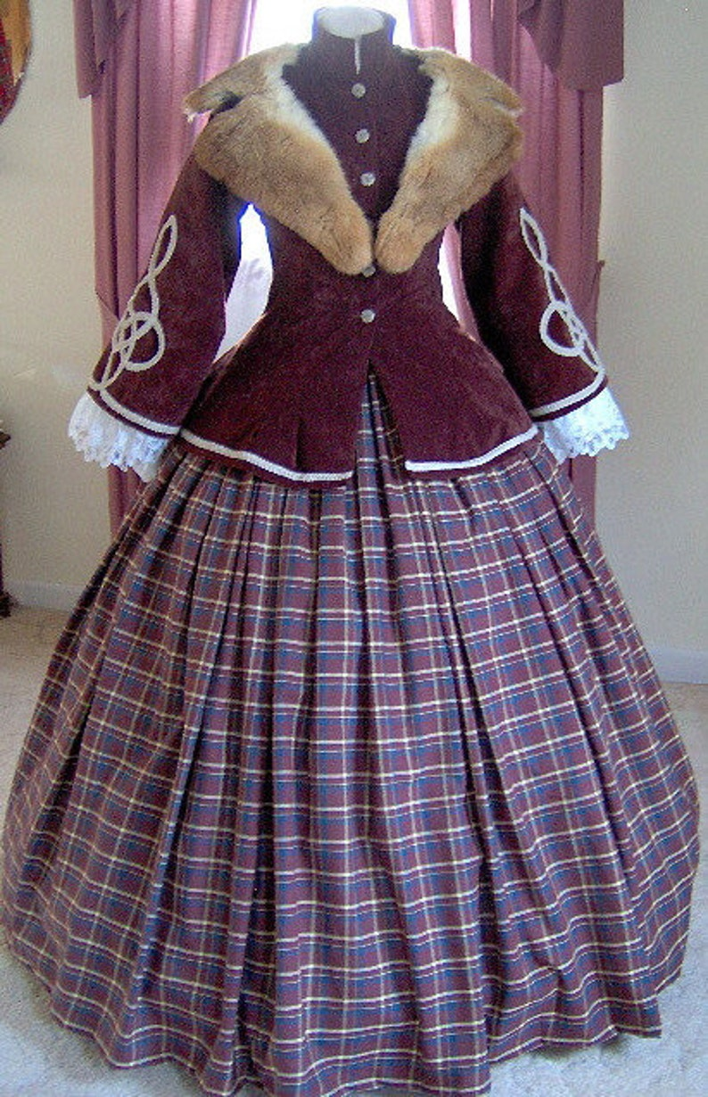 Victorian Dresses | Victorian Ballgowns | Victorian Clothing Custom Made - 1800s Victorian Dress - 1850s 1860s Civil War Traveling Suit - Coat Jacket Skirt Basquine Civil War Dress $360.00 AT vintagedancer.com