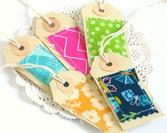 Set of 5 Handmade Frabric Scrap Gift Tags For Scrapbooking, Junk Bullet Travel Journals, Paper Ephemera Supplies, Special Tags for Birthdays
