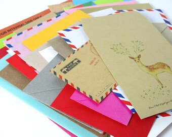 Mixed Lot Envelopes for Junk Journals Scrapbboks Planner Pockets Travelers Notebook Inserts Journaling Pages Assorted Colours and Sizes