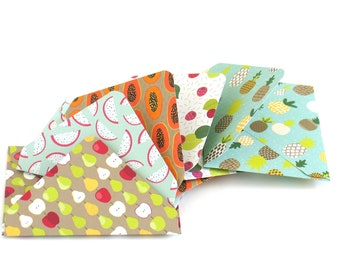 5 x Handmade Fruit Theme Paper Envelopes for Scrapbooking, Junk Travel Bullet Journals, Smash Book Daily PLanner Inserts and Pockets