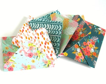 5 x Handmade Theme Paper Envelopes for Scrapbooking, Junk Travel Bullet Journals, Smash Book Daily PLanner Inserts and Pockets