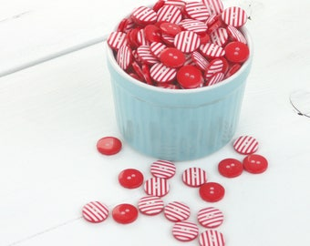 Stripy Buttons / Red and White Stripe Buttons / Cute Sewing Buttons / Craft Buttons / Button Lot / Scrapbook Buttons / Sewing Supplies UK