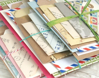 Junk Journal Bundle of Envelopes Tags for Bullet Bujo Travel Planners Notebooks Journals Scrapbooking Assorted Mixed Handmade Vintage New
