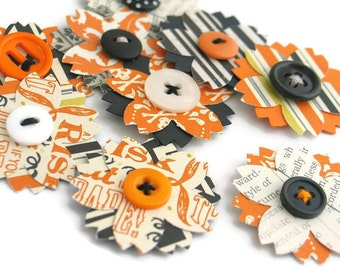 Halloween Paper Flower Embellishments for Scrapbooking Junk Journaling BuJu Planners Handmade Craft Supplies for Scrapbooks and Card Making