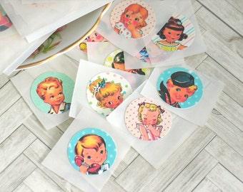 Handmade Sticker Set for Junk Journals Planners Travel Journals Scrapbooking Envelope Seals cute Vintage Retro Style Boy and Girl Stickers