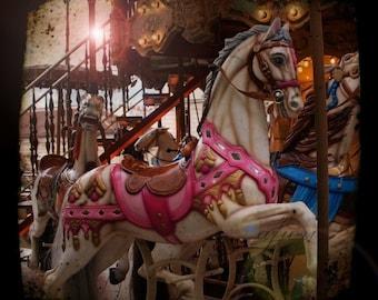 Carousel horse photograph, ttv print, carousel art, carousel horse, fine art photography, cute, pink, Paris, amusement park, carnival