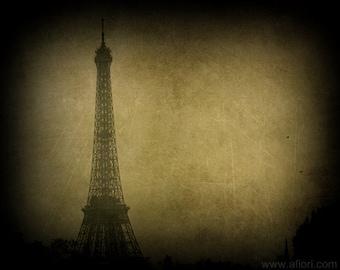 Eiffel tower, Paris, vintage style ttv photograph, PARIS STORIES 3, dark, romantic, mysterious, travel photography, fine art print
