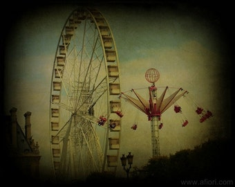 Paris carnival art photograph, PARIS STORIES 1, Ferris wheel and swing,turquoise sky, amusement park photography, ttv, dark, circus, mystery