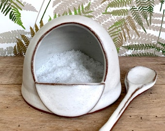 White Ceramic Salt Pig / Rustic Kitchen Salt Cellar Set with Handmade Spoon