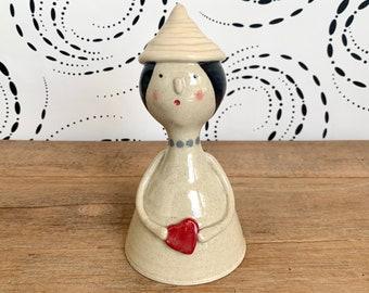 Handmade Ceramic Person Sculpture / Girl with Heart / Cute Whimsical Fun Home Decor