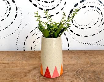Handmade Hand-Painted Small Modern Ceramic Bud Vase / Contemporary Wheel Thrown Pottery