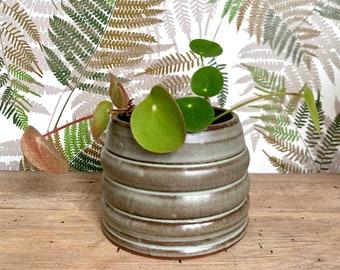 Small Ceramic Planter /  Matte Green / Ridged Succulent Flower Pot w/ Drainage Hole