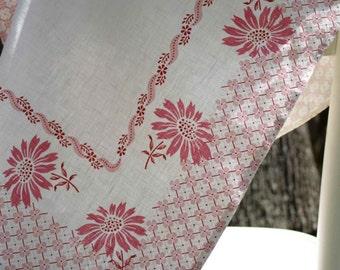 Pink Floral & Geometric Tea / Kitchen / Dish Towel - Vintage Inspired