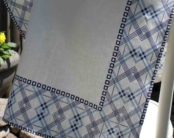 Blue Geometric Vintage Art Deco 20s Inspired Tea / Kitchen Towel - Linen