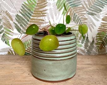 Ceramic Planter /  Matte Green / Ridged Succulent Flower Pot