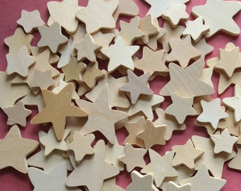 "75 Wooden Stars for Crafts Patriotic 3/4"" to 1 3/4"""